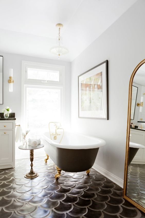black scalloped bathroom floor gives special chic to this bathroom