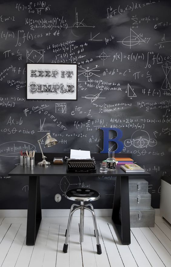 industrial study space with special wallpapers   blackboard with math equations