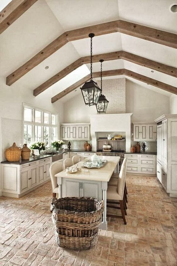 kitchen with brick floor - photo #18