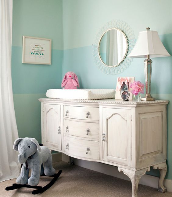 whitewashed vintage baby changing station