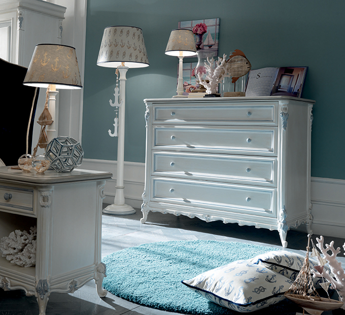 White pieces are decorated with dusty blue