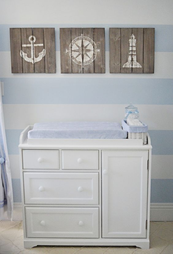 modern dresser into a changing table in a nautical nursery