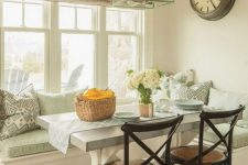 17 aqua-colored breakfast nook with rustic touches