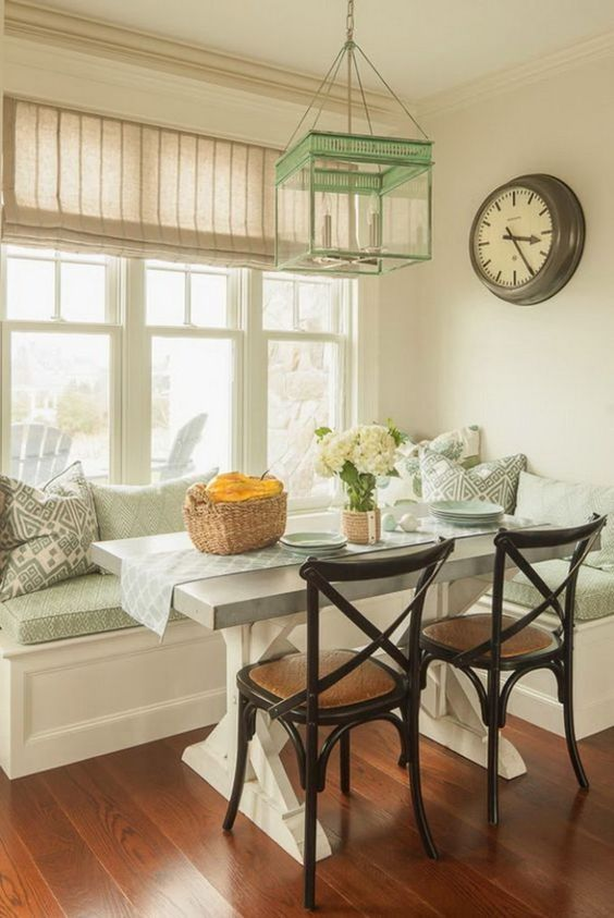 aqua-colored breakfast nook with rustic touches