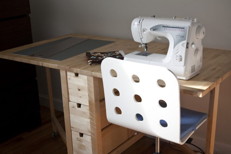 light-wood Norden Gateleg table is perfect for sewing