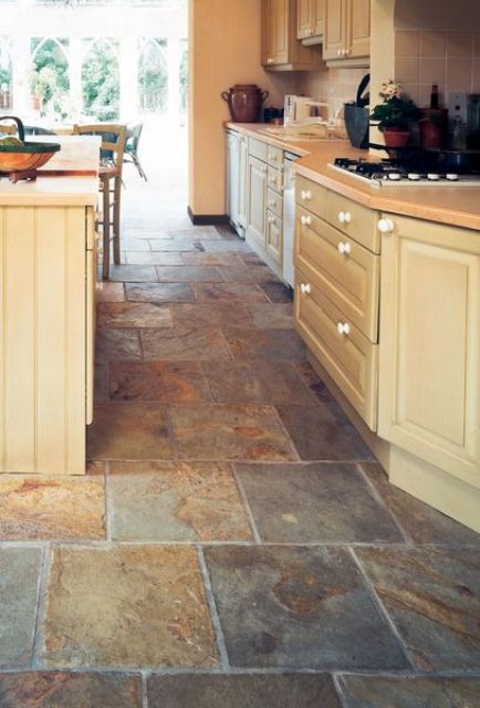30 practical and cool looking kitchen flooring ideas for Dark tile kitchen floor