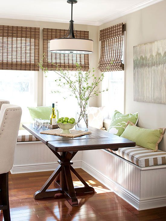 farmhouse green and brown breakfast nook