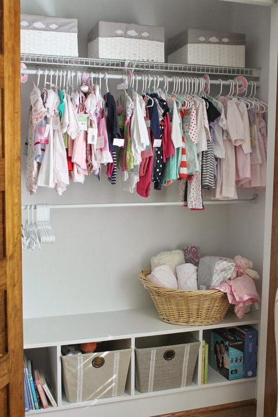 cubbies for folded things in closets, double rods for the kids