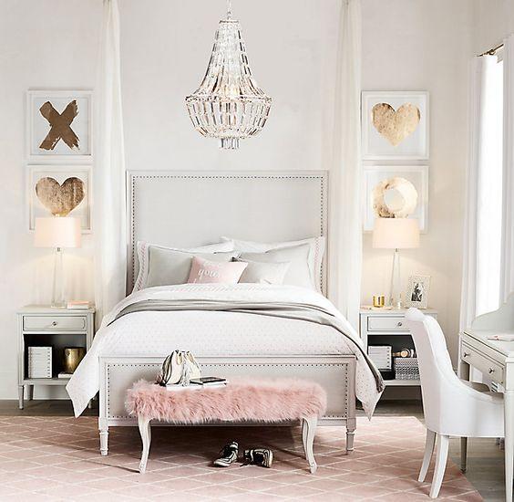 Picture of glam modern interior design with a vintage desk for Modern vintage bedroom designs