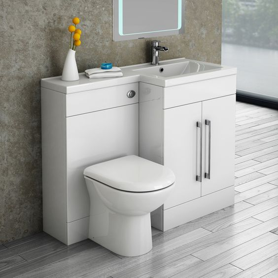 toilet and basin with a storage drawer in one