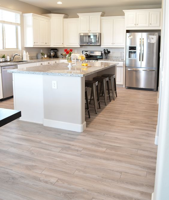 30 practical and cool looking kitchen flooring ideas for Floor kitchen cabinets