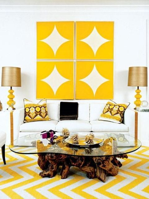 yellow and white chevron painted floors