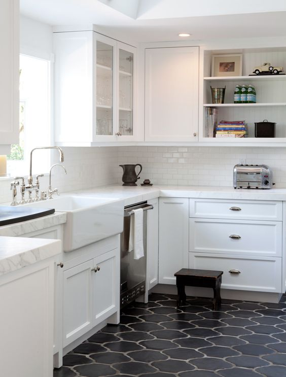 style tiles for a mid century modern kitchen with white cabinets