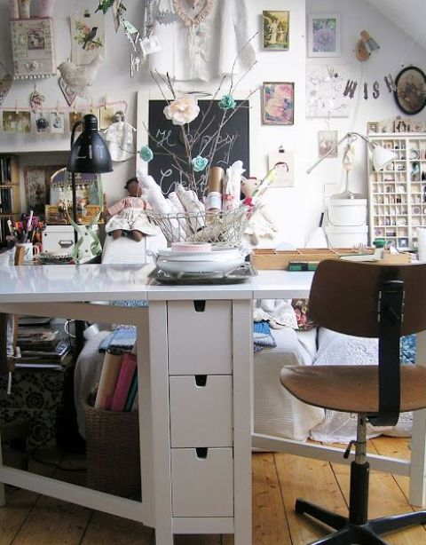 white Norden Gateleg table for crafting