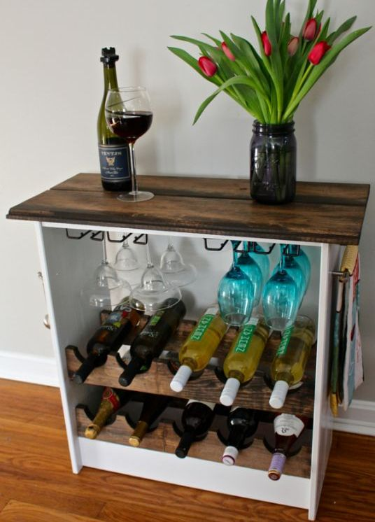 wine rack clad with wood frfom a Rast dresser