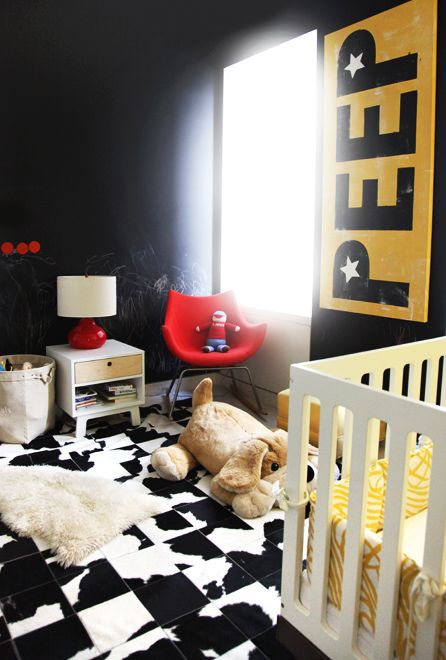 black and white tiles for decorating a black and yellow nursery