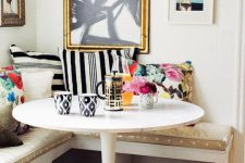 24 colorful glam breakfast nook with lots of patterns