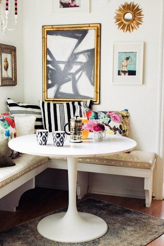 colorful glam breakfast nook with lots of patterns