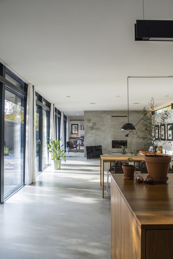 concrete floor home. Simple Grey Concrete Floors For A Modern Open-plan Space Floor Home