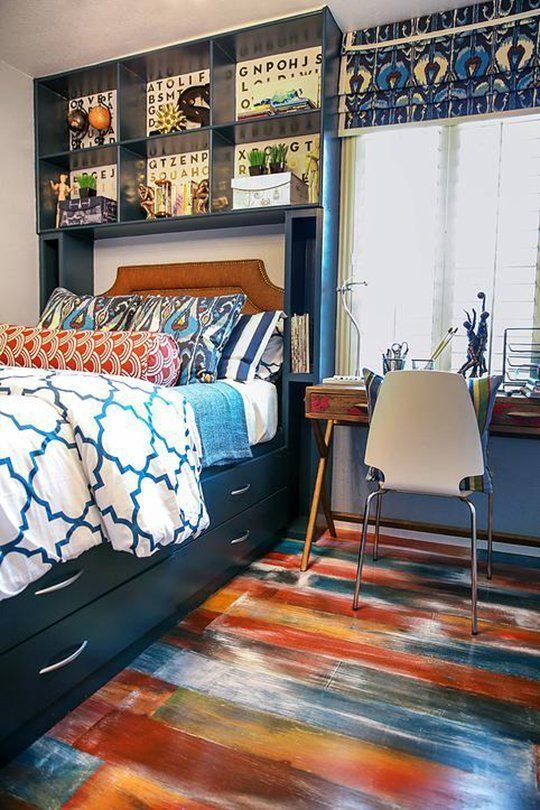 colorful brushtroke wooden plank floors in a boys' room