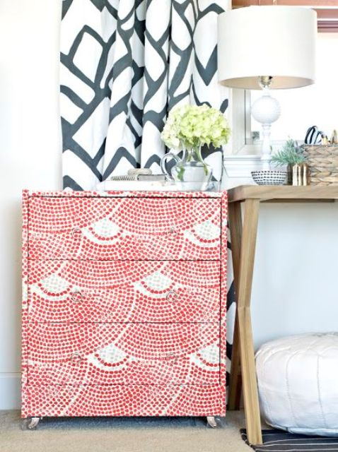 fabric wrapped IKEA Rast dresser
