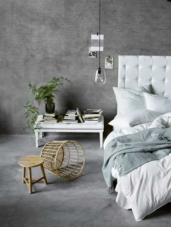 concrete covers not only floors but also walls of this modern bedroom - White Floor Bedroom