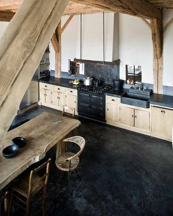 polished black concrete floors are very durable and fit kitchens perfectly