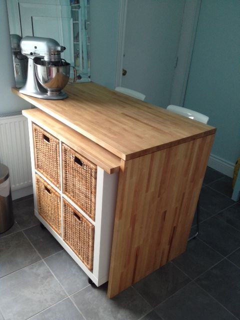 kitchen island storage from Kallax shelf