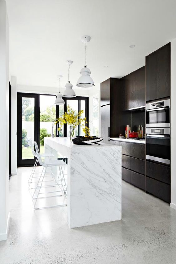 light grey concrete polished floors are the best for such a functional space as a kitchen