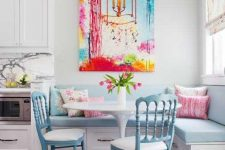28 pastel breakfast nook with a bold artwork piece