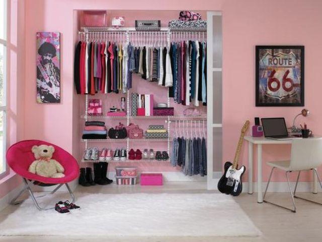 well-organized closet behind sliding doors