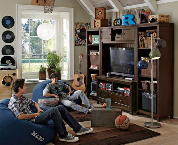 entertainment wall and bean bags for a teen hangout