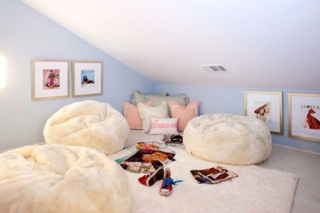 attic hangout nook with faux fur beanbag chairs