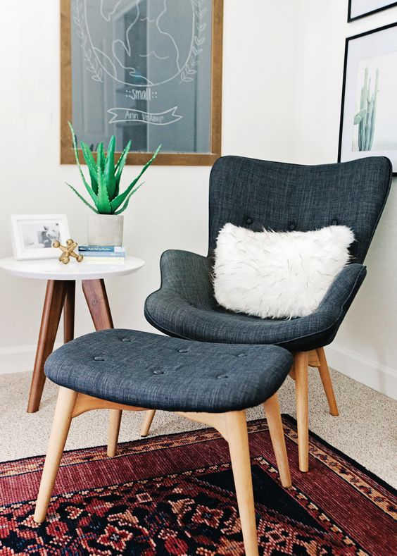 mid-century modern chair and ottoman