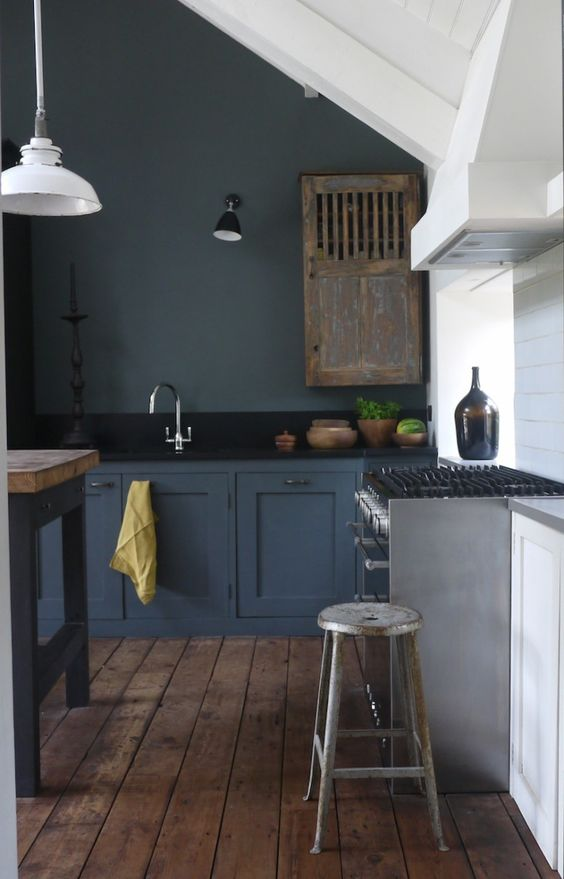 dark grey kitchen with industrial and shabby touches