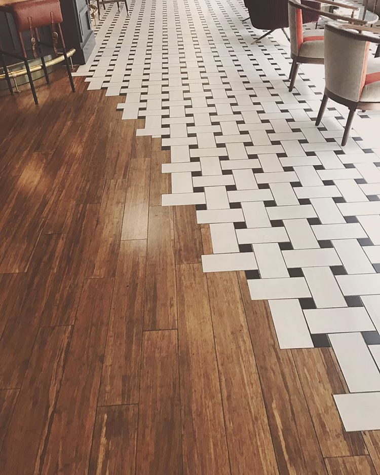 a stunning floor transition that doesn't made with hexagonal tiles (via @srodulski_sees)