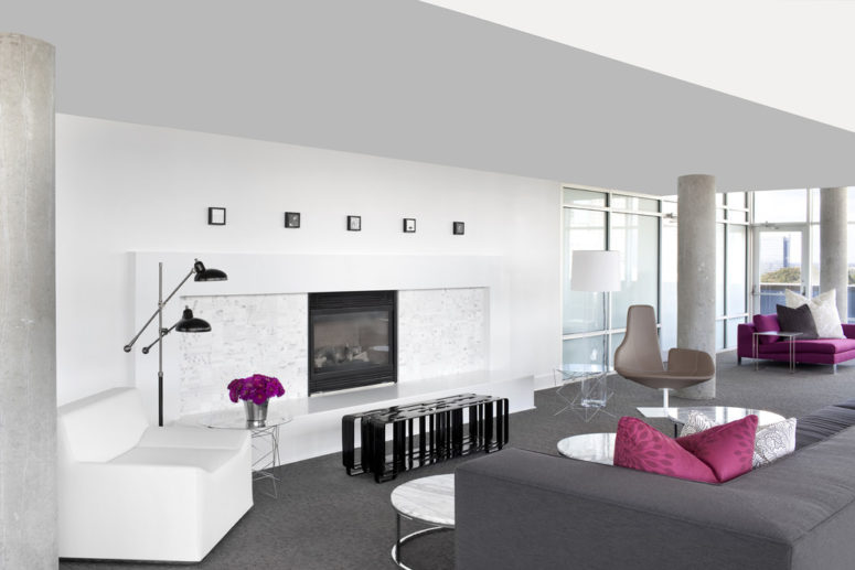gray carpet in a contemporary living room with white walls