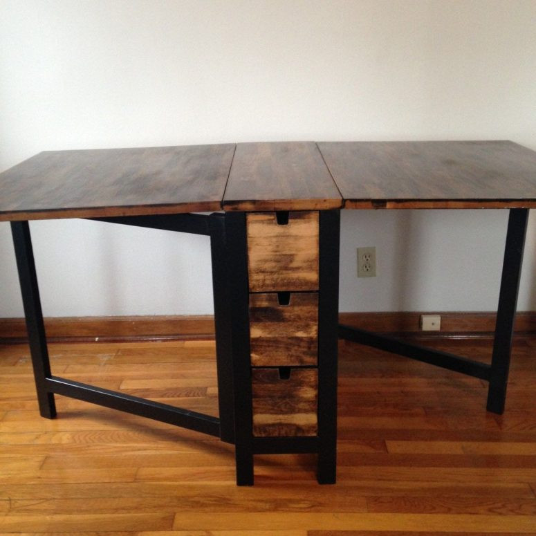 With dark walnut stain you can hack the practical table into a stylish piece.