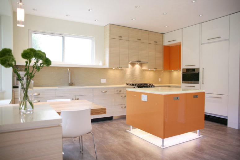 vinyl kitchen flooring could be used to imitate natural wood (The Sky is the Limit Design)