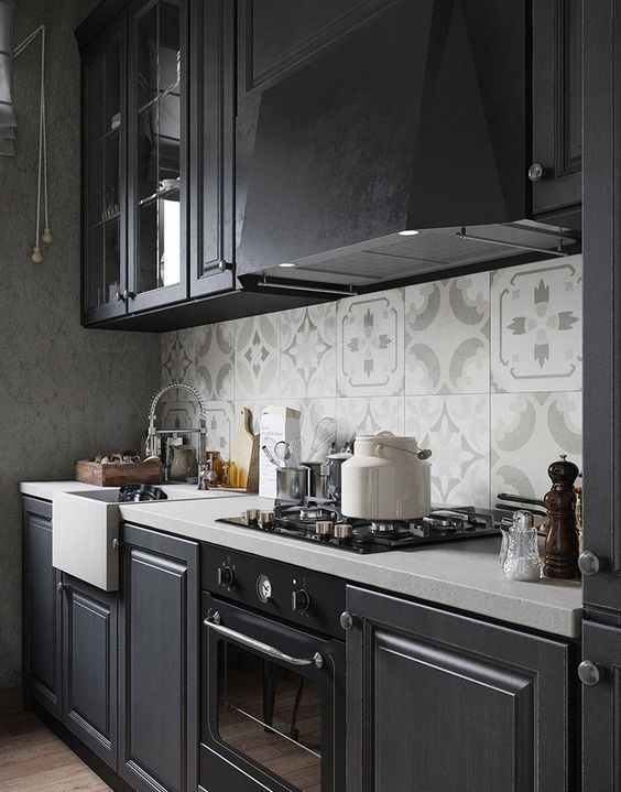 Moody Dark Kitchen Décor Ideas DigsDigs - Grey colored kitchens