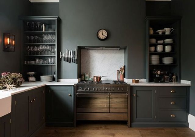 modern dark grey kitchen with natural wood cabinets