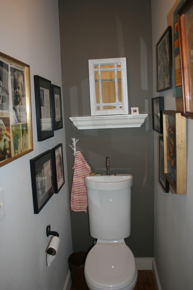 When you combine a toilet and a sink you might use wall space for photo frames or some other decor. (Samantha Schoech)