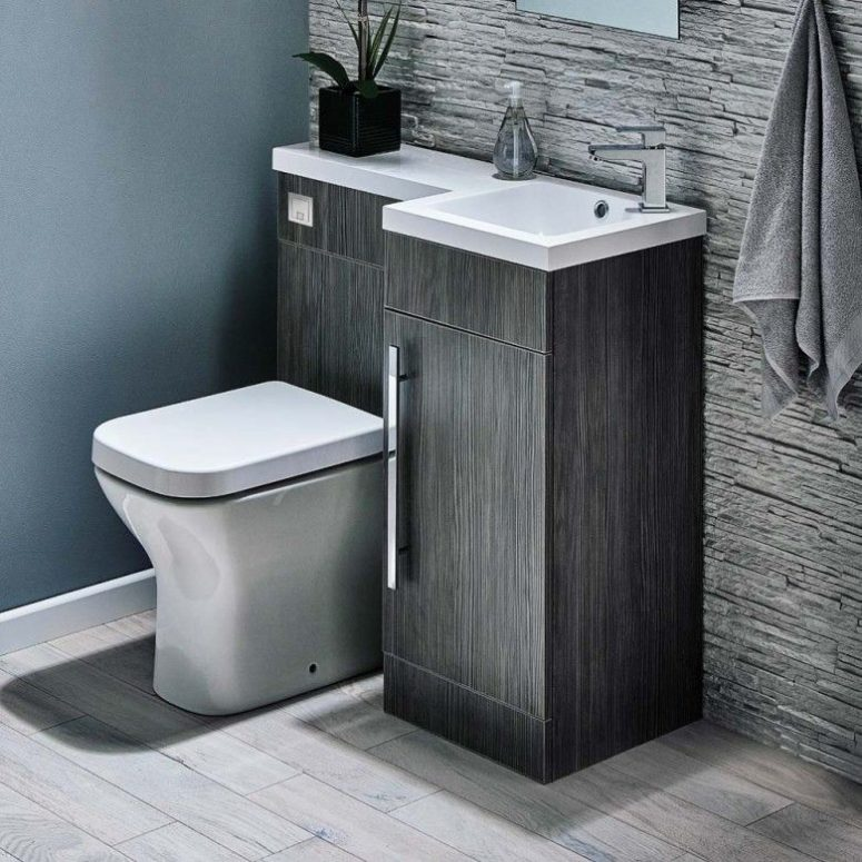 this compact toilet & sink unit is a clever solution that also provides some storage space