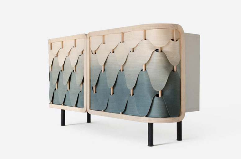 Gradient Alato cabinet was inspired by birds' feathers and in texture reminds of fish scales
