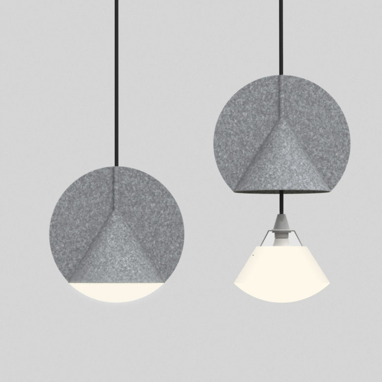 Outofstock is a geometric hanging lamp that combines a triangle and a circle in its shape