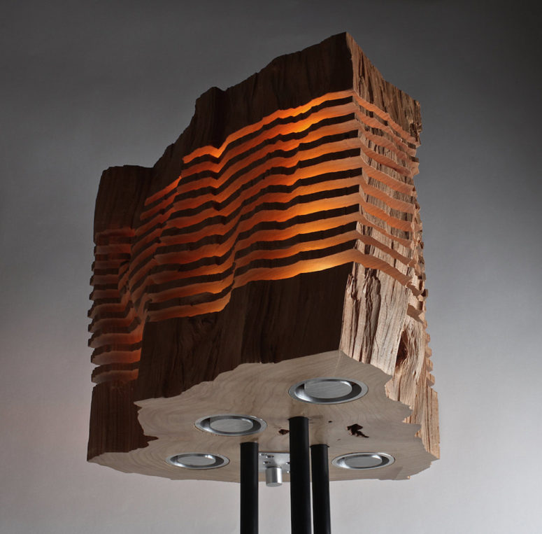 Split Grain Lamp Series Made Of Wood Remnants