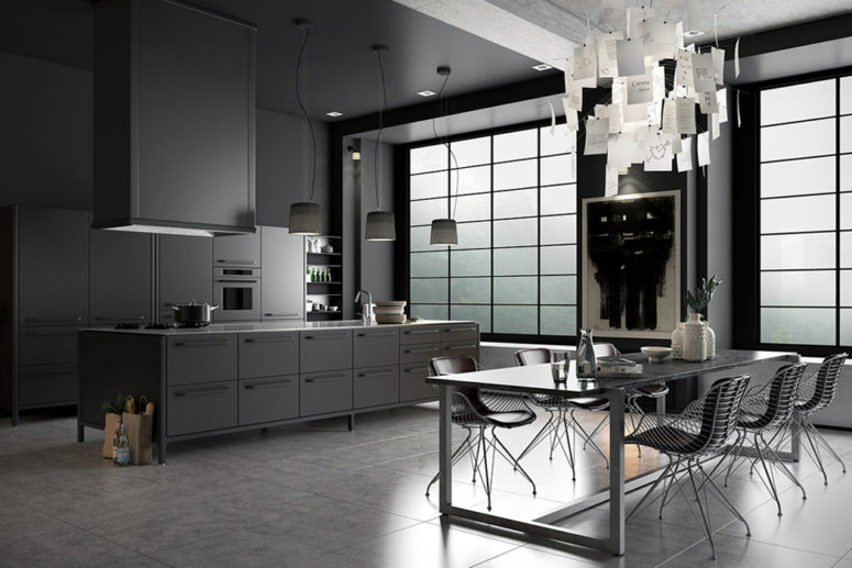 Stone And Wood Make A Dark Masculine Interior: Moody Monochromatic Kitchen Design With A Masculine Feel