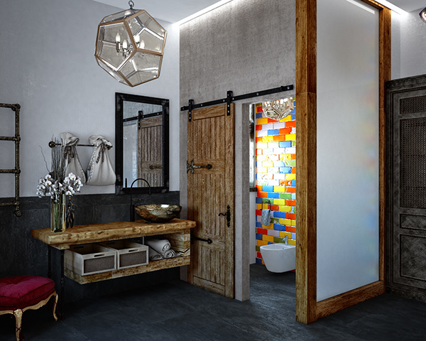 Eclectic Bathroom Design With Dark Tiles