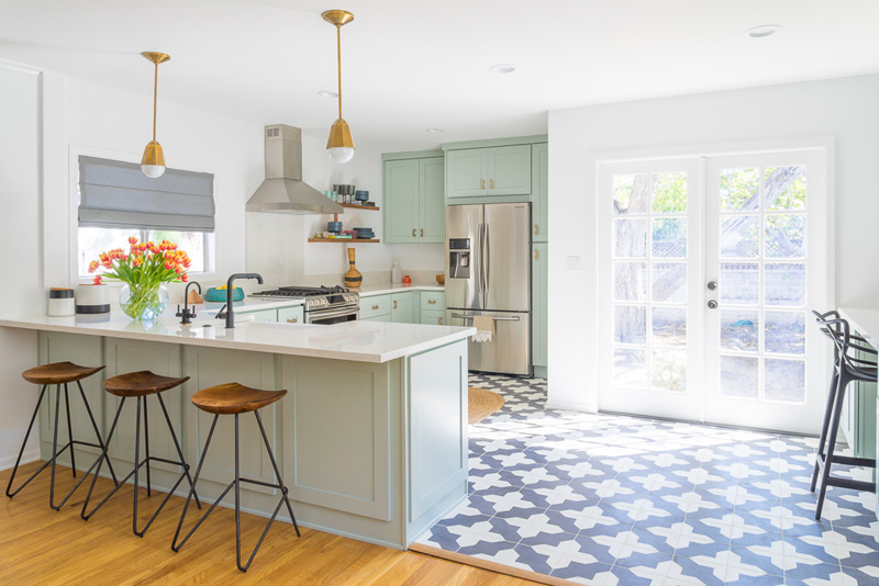 This Mid Century Modern Kitchen In Mint Was Created By Black Lacquer Design