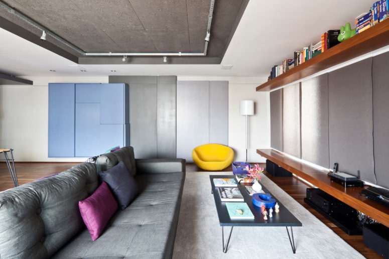 This modern apartment was designed for a man who likes giving parties to small groups of friends